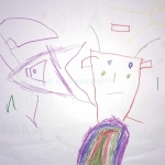 Here is an airplane and below is a monster that's got a colourful electric shock, Marco, 5 years old
