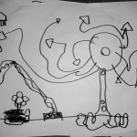 A complicated elevator shaft with a big tree, leaves, roots. Plus a flower, Darius, 4 years old