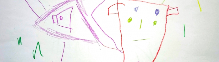 Here is an airplane and below is a monster, Marco, 5 years old